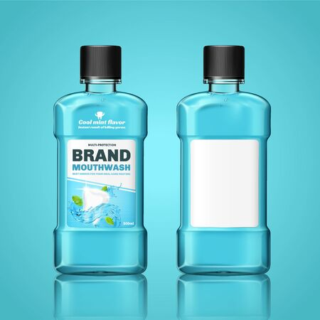Set of 3d illustration mouth wash bottle mock-ups for ad use, one with label design and one without, isolated on light greenish blue background