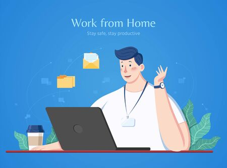 Man works from home with his laptop during coronavirus outbreak, flat style illustration on blue background
