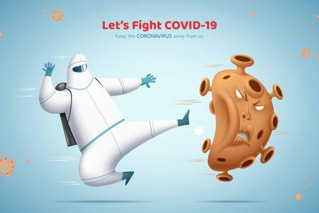 Man in hazmat suit kicking the bad virus away, Fight against COVID-19 concept illustration 版權商用圖片 - 147505886