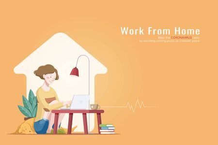 Woman working on laptop at a coffee table with her dog during COVID-19, cozy work from home flat style illustration Vettoriali
