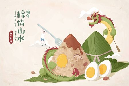 Delicious zongzi with a Chinese dragon staying around it and a miniature boy hanging on the stick rice dumpings, Duanwu festival greetings and May 5th written in Mandarin text Vettoriali
