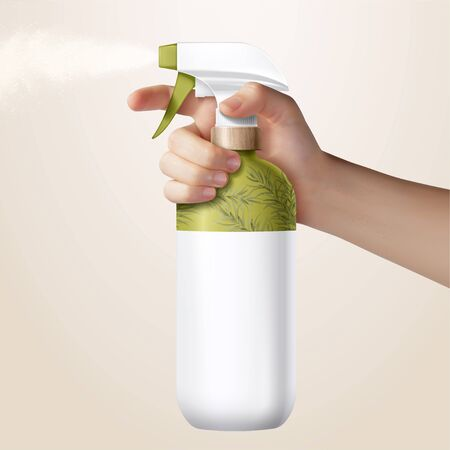 Realistic hand holding grass green trigger spray bottle, isolated on light yellow background, 3d illustration