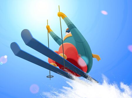 Professional alpine skier jumping in the air under the blue sky with splashing snow, low angle illustration