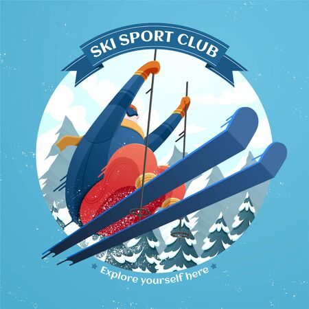 Ski sport club illustration with skier jumping in the air on ski resort background Vettoriali