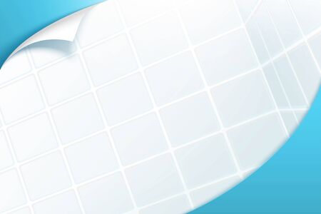 Realistic toilet tile background with paper curl effect on corner, 3d illustration Vettoriali