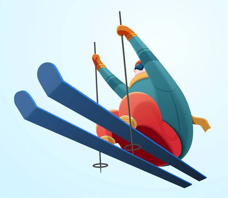 Professional alpine skier jumping in the air on light blue background, low angle illustration