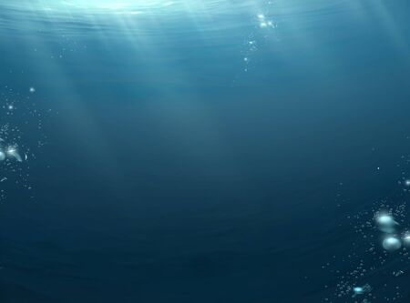 Dark ocean scene with moonlight beaming through water surface and bubbles floating upwards, 3d illustration