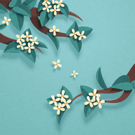 Lovely sweet osmanthus flowers branches in papercut style on light turquoise background