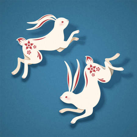 Papercut style vivid two white rabbits with red floral decorations on blue background Vettoriali