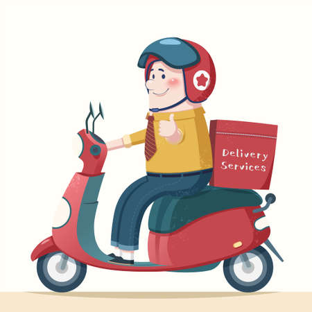 Cute courier character making a thumb up, element for food delivery promotion use, designed in flat cartoon style 向量圖像