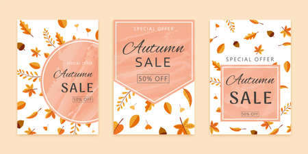 Set of autumn leaves and acorns brochures design with geometric shape copyspace, flat style