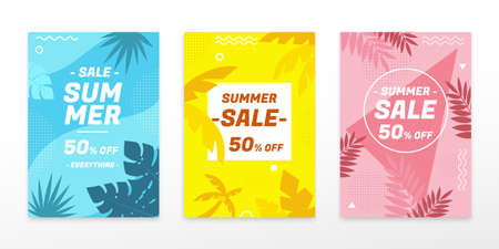 Concept of tropical palm tree, cover template in flat style, for summer sale ad, web ad, brochure use