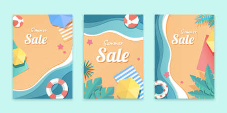 Cover template for summer sale in paper art design, concept of summer beach 向量圖像