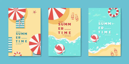 Summer time beach flyer set templates in flat style with sun tanning woman, parasol and beach ball