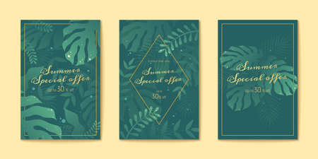 Tropical leaves flyer set in green tone, Special summer sale templates 向量圖像
