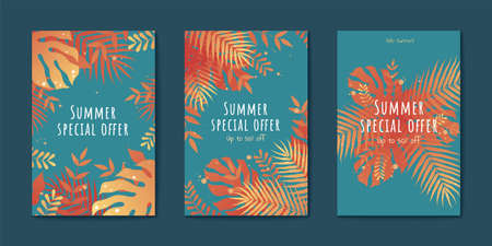 Tropical leaves flyer set in orange and turquoise tone, Special summer sale templates