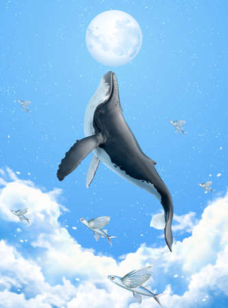 Surreal scene of humpback whale breaching above clouds and reaching the silver moon, 3d illustration