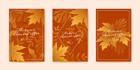 Golden gradient maple leaves on pumpkin orange background, Autumn season brochure design set