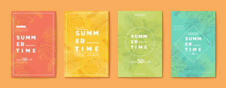 Exquisite line style tropical leaves flyer set, Summer sale templates