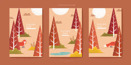 Lovely red fox in autumn forest illustration set, triangle trees in orange color