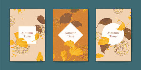 Elegant autumn time ginkgo leaves brochure set in earth tone color, geometric shape copy space in the middle