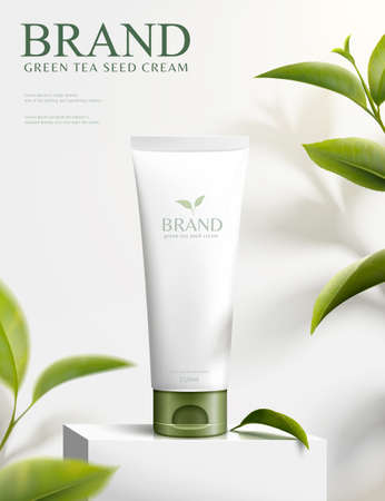3d illustration green tea seed cream ads, product on square podium with nature leaves ingredients 向量圖像