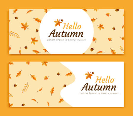 Set of autumn leaves and acorns banner in flat style, chrome yellow background