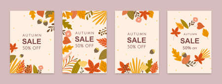 Set of colorful autumn leaves and acorns brochures design, Fall season sale template 向量圖像