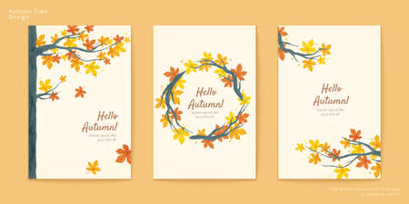Autumn brochure set, Maple trees and branch wreath with leaves 向量圖像