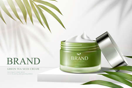 Green tea cream jar on square podium with palm leaves in 3d illustration, cosmetic ads