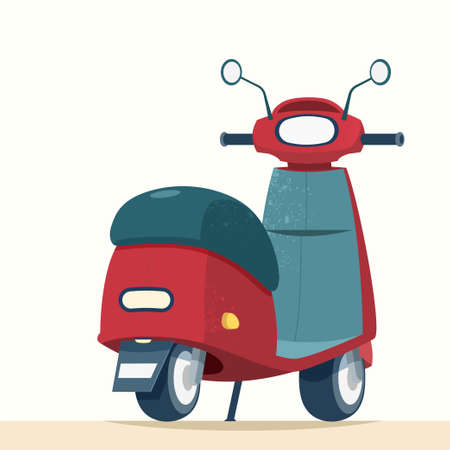 Cute trendy scooter from rear view, element for transportation, designed in flat cartoon style  イラスト・ベクター素材