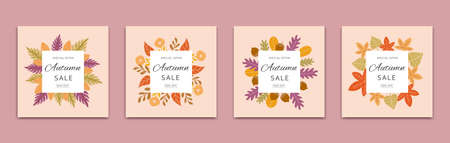 Colorful autumn leaves frame cover design in flat style