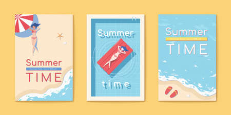Summer time beach flyer set templates in flat style with sun tanning woman lying on beach and floating bed