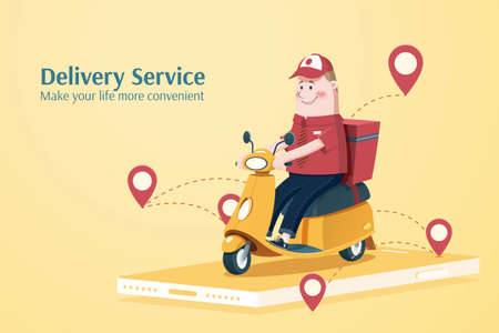 Cute courier character riding scooter to deliver goods, concept of shipment or food delivery service, illustration in flat style