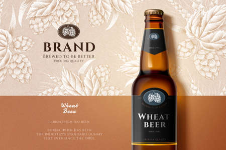 3d illustration wheat beer glass bottle flat lay on engraving style background, ears of wheat and hops elements