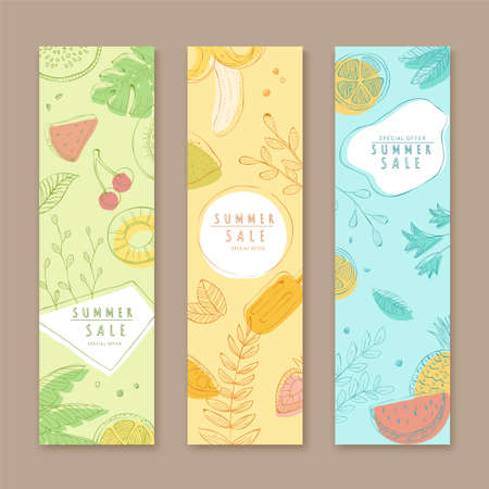 Roll-up cover template in line art and pastel tone, concept of tropical fruit, for summer sale ad, web ad, x-banner use