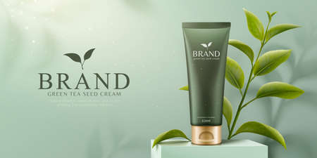 Green tea seed skincare product on square podium with green leaves in 3d illustration, fresh cosmetic banner ads 向量圖像