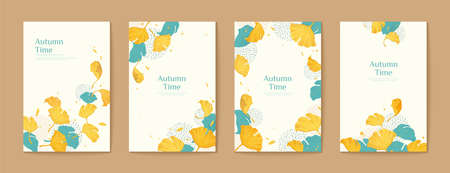 Elegant ginkgo leaves autumn time brochure set in turquoise and yellow
