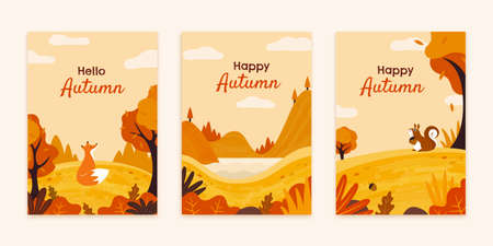Fox and squirrel in autumn forest brochures set, Fall season illustration in flay style