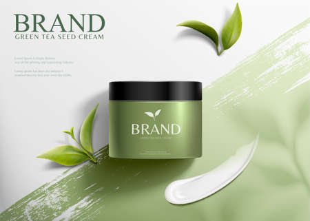 3d illustration green tea seed cream ads, product lying on brush stroke background in top view angle 向量圖像