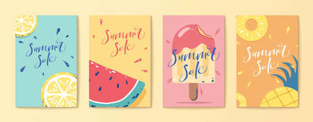 Tropical fruit and popsicle flyer set templates in flat style