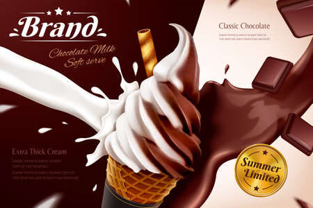 Chocolate soft serve ice cream cone ads with flowing syrup effect and chocolate pieces in 3d illustration Ilustracje wektorowe