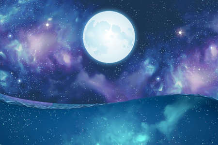 Surreal scene of silver super moon hanging above water on mysterious cosmos background