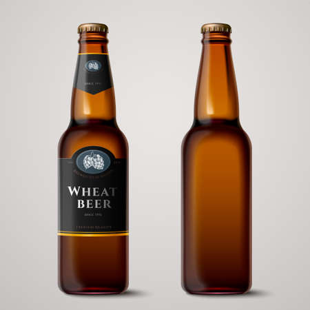3d illustration wheat beer glass bottle mockup on light grey background, one with label and one without