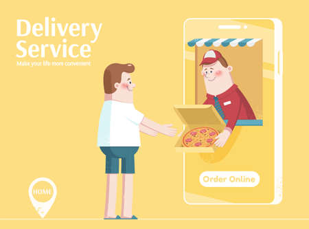 Cute character order pizza online, concept of online food ordering and delivery service, illustration in flat style