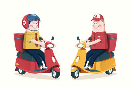 Courier character set in flat style, concept of food delivery services
