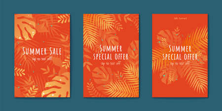 Tropical leaves flyer set in orange tone, Special summer sale templates 向量圖像