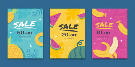 Concept of tropical fruit, cover template for summer sale ad, web banner ad, poster use
