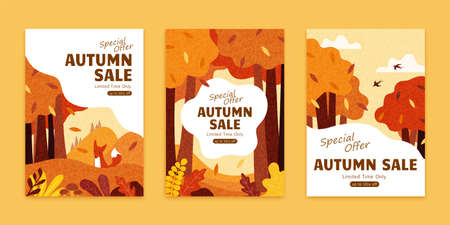 Autumn illustration brochure set with adorable fox in fall forest