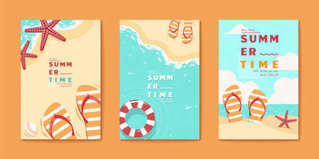 Summer time beach flyer set templates in flat style with sandals, starfish and lifebuoy